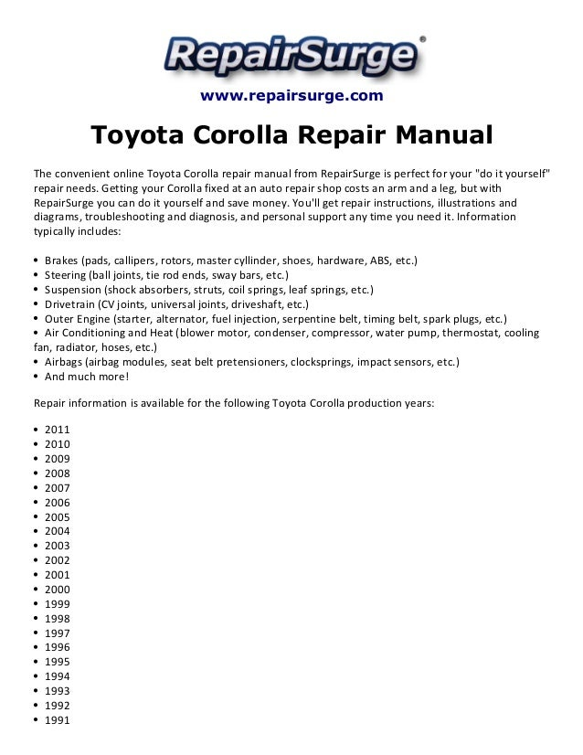 toyota corolla repair manual 1990 2011. Black Bedroom Furniture Sets. Home Design Ideas
