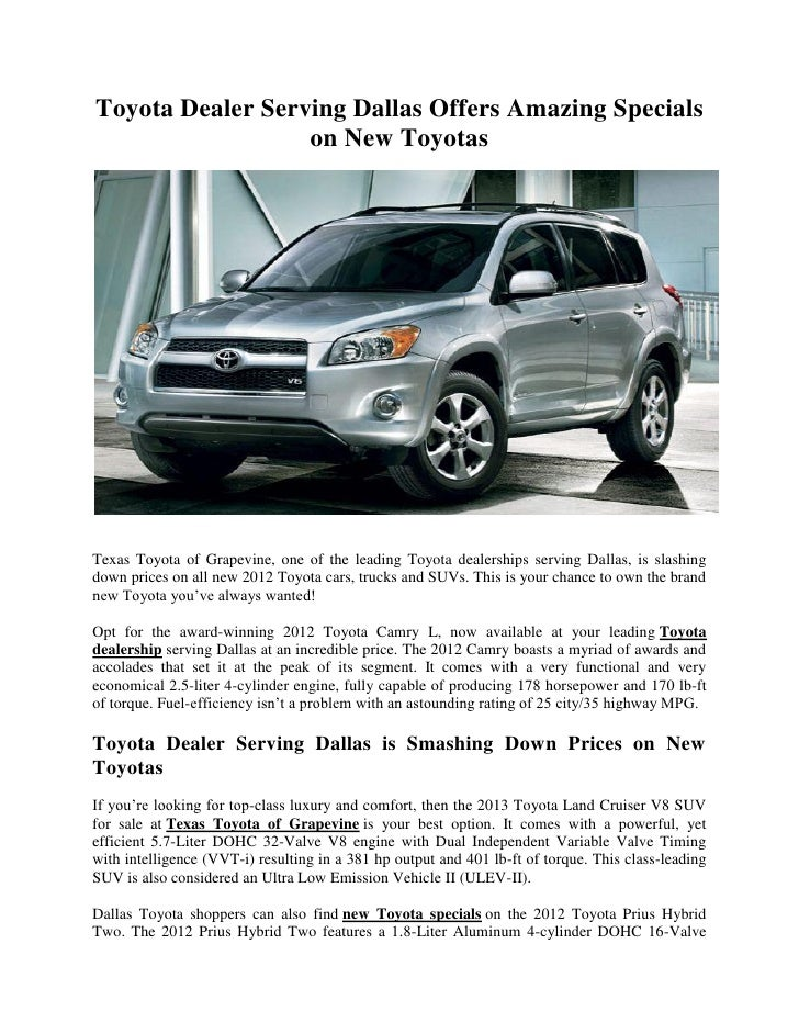 Dallas Toyota Dealers >> Toyota Dealer Serving Dallas Offers Amazing Specials On