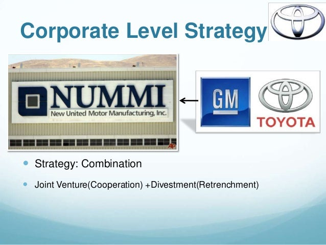 functional level strategies of toyota motors corporation Re-engineering has been a major factor for the success of toyota consider a toyota model, which is newly introduced in the market, failed to impress the market the next toyota strategy will be to re-engineer the model, ie, completely alter the failed model using the same production facility this method is not practiced at general motors.