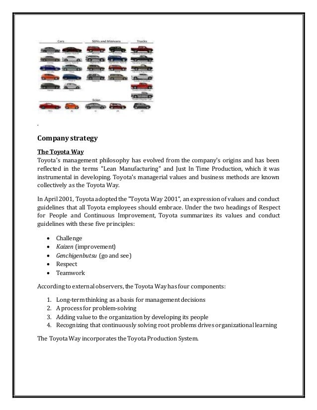 toyota supply chain essay Lean and agile purchasing and supply  discuss in depth any of the four main schools of supply chain management - the lean, agile, power regimes or imp.