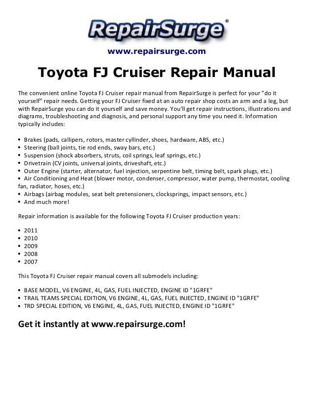 toyota fj cruiser repair manual 2007 2011 rh slideshare net toyota fj cruiser repair manual pdf fj cruiser repair manual 2013
