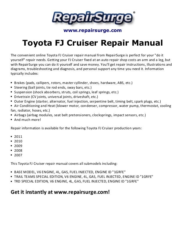 2010 fj cruiser repair manual