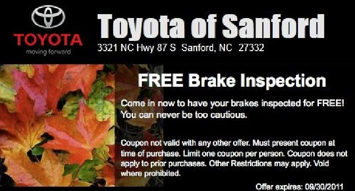 Toyota FREE Brake Inspection NC | Toyota Dealer near Raleigh