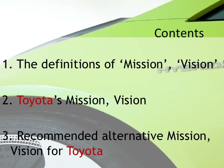 strategic alternatives for toyota Toyota motor corporation's marketing mix or 4ps (product, place, promotion, price) is examined in this case study and company analysis on market strategies.