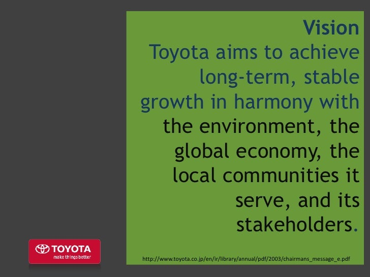 stakeholders of toyota company Overall accountability for corporate governance lies with toyota australia's board of directors, which oversees the company's day-to-day operations as well as its long-term strategy the toyota code of ethics and standards of behaviour (outlined in toyota australia's workplace agreements) guide our understanding, promotion and practice.
