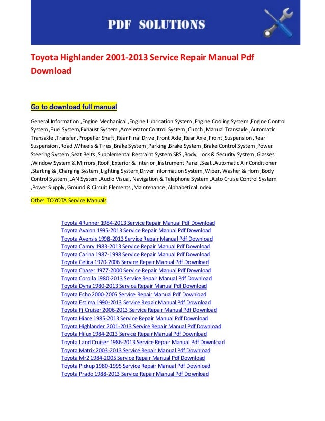 Toyota Highlander 2001 2013 Service Repair Manual Pdf Download