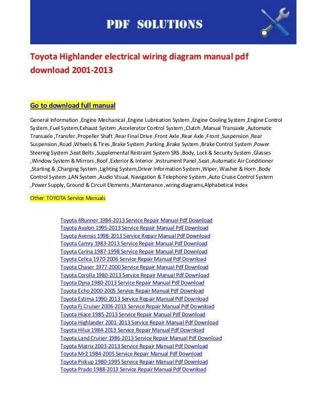 toyota highlander electrical wiring diagram manual pdf download 2001 \u2026