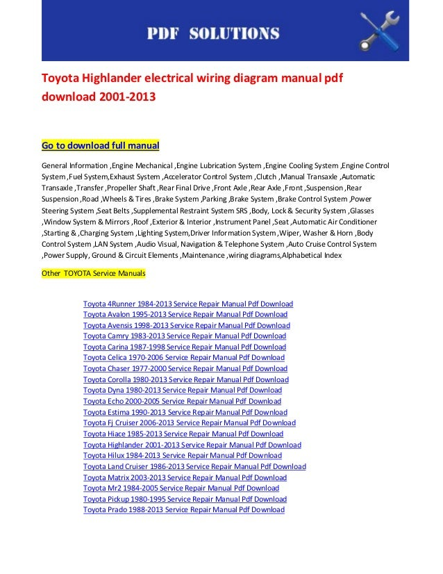 Toyota Highlander Electrical Wiring Diagram Manual Pdf Download 2001