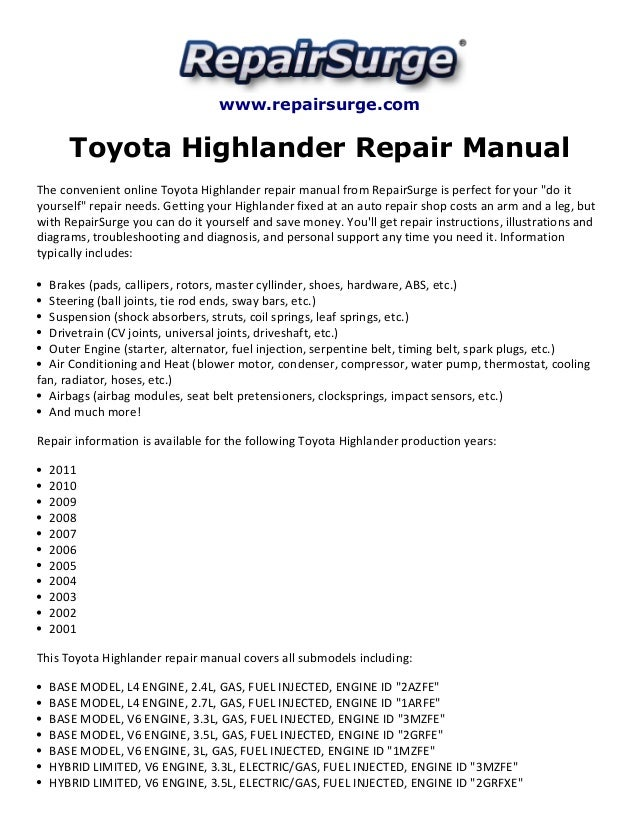 toyota highlander repair manual 2001 2011 rh slideshare net 2008 toyota highlander repair manual download 2007 toyota highlander repair manual