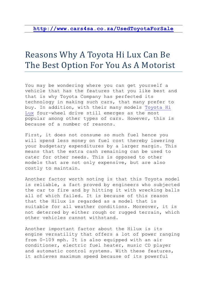http://www.cars4sa.co.za/UsedToyotaForSaleReasons Why A Toyota Hi Lux Can BeThe Best Option For You As A MotoristYou may b...