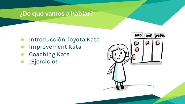 ¿De qué vamos a hablar? ● Introducción Toyota Kata ● Improvement Kata ● Coaching Kata ● ¡Ejercicio!