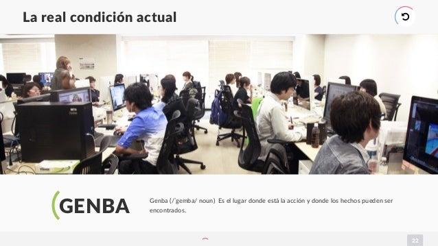 22 La real condición actual ) GENBA Genba (/ˈgemba/ noun) Es el lugar donde está la acción y donde los hechos pueden ser e...