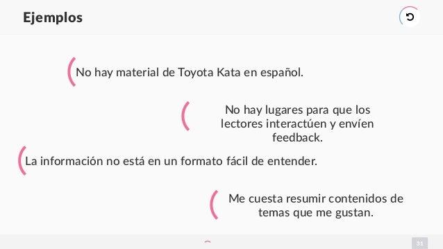 31 Ejemplos ) No hay material de Toyota Kata en español. No hay lugares para que los lectores interactúen y envíen feedbac...