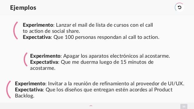 35 Ejemplos ) Experimento: Lanzar el mail de lista de cursos con el call to action de social share. Expectativa: Que 100 p...