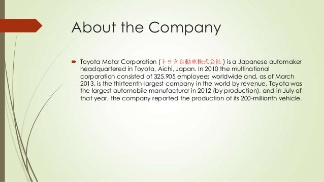 Toyota mission and vision for Toyota motor corporation mission statement