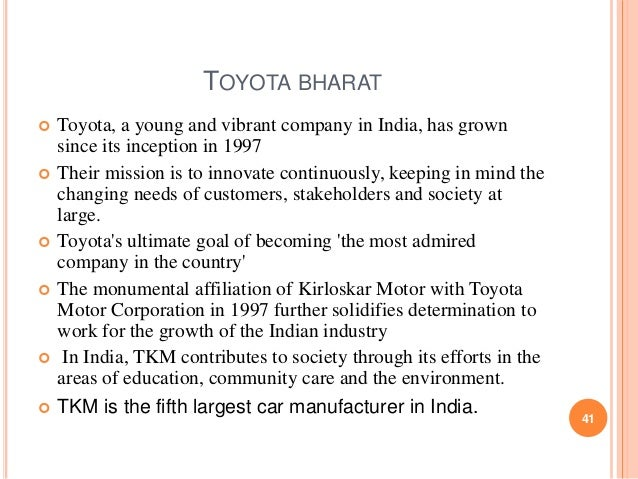 mission statement of toyota motor corporation