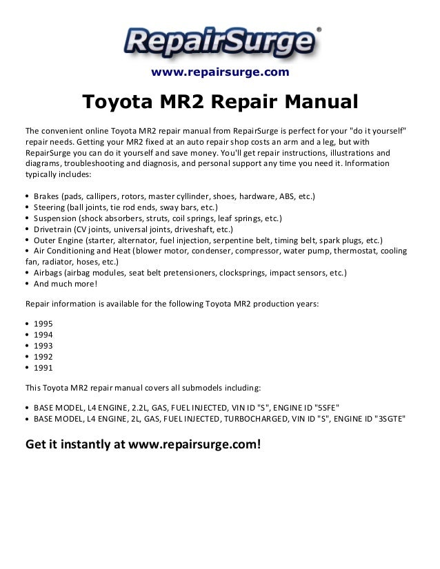 toyota mr2 repair manual 1991 1995 rh slideshare net Toyota MR2 Turbo 2005 Toyota MR2 Spyder