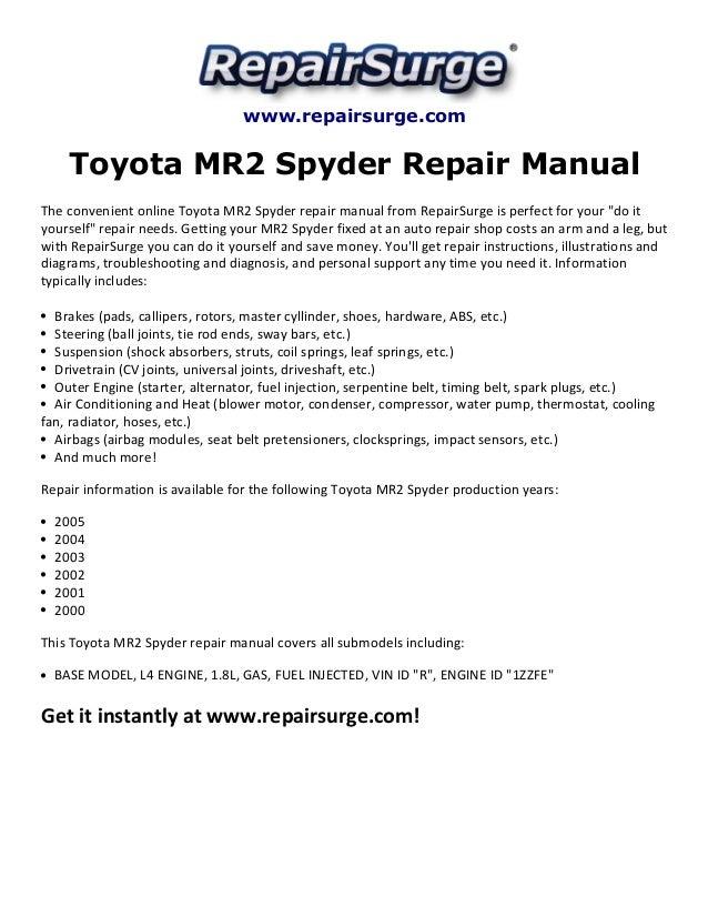 Toyota Mr2 Spyder Repair Manual 2000 2005. Repairsurge Toyota Mr2 Spyder Repair Manual The Convenient Online. Toyota. 2002 Toyota Mr2 Spyder Fan Belt Diagram At Scoala.co