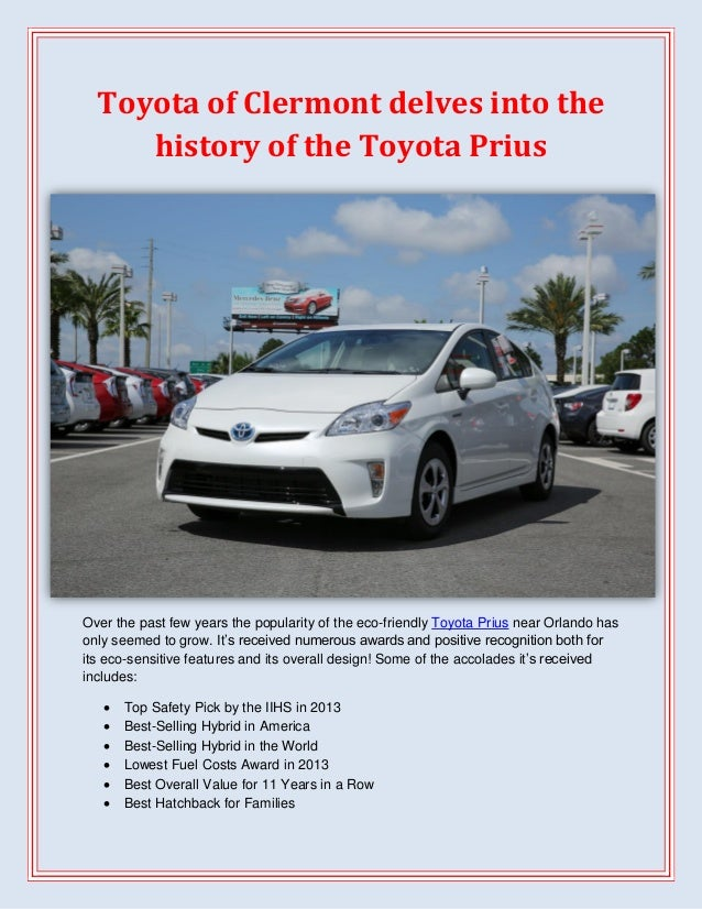Toyota of Clermont delves into the history of the Toyota Prius  Over the past few years the popularity of the eco-friendly...