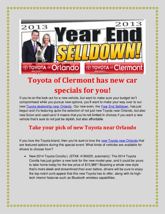 Toyota of Clermont has new car specials for you! If you're on the look-out for a new vehicle, but want to make sure your b...