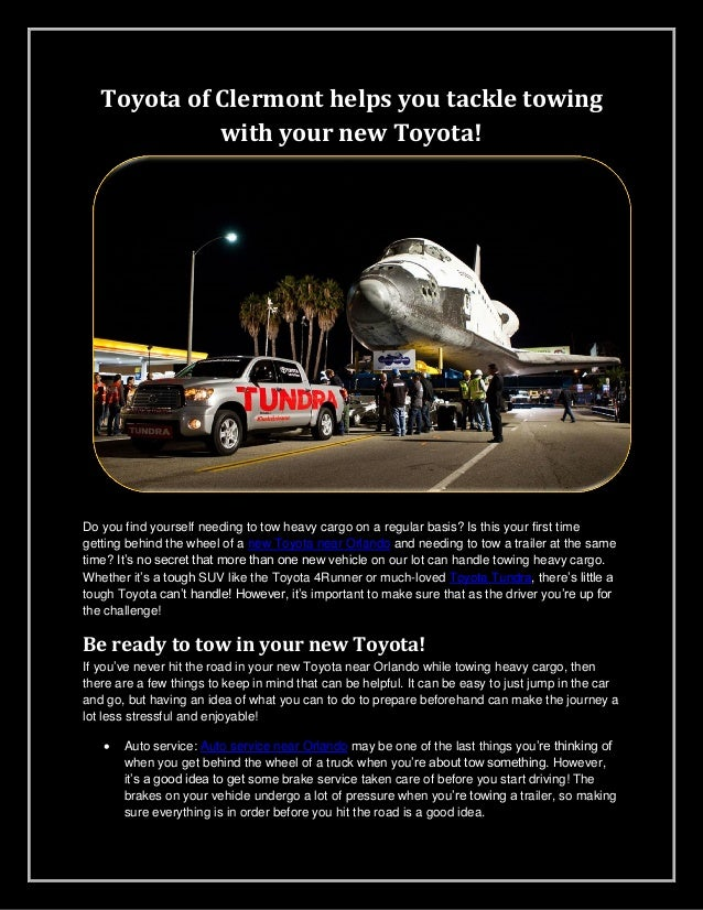 Toyota of Clermont helps you tackle towing with your new Toyota!  Do you find yourself needing to tow heavy cargo on a reg...