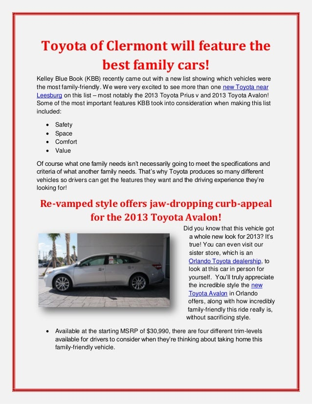 Toyota of Clermont will feature the best family cars!