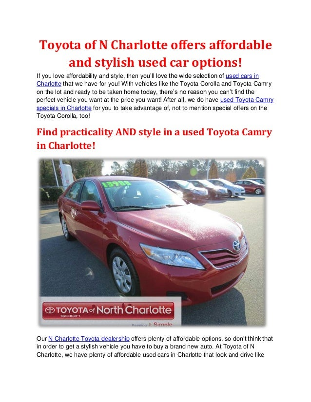 Toyota Of N Charlotte Offers Affordable And Stylish Used Car Options!If You  Love Affordability ...