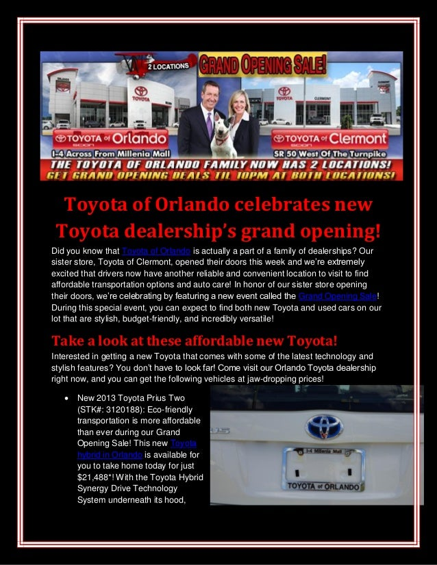 Toyota of Orlando celebrates new Toyota dealership's grand opening! Did you know that Toyota of Orlando is actually a part...