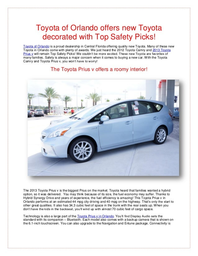 Toyota of Orlando offers new Toyota         decorated with Top Safety Picks!Toyota of Orlando is a proud dealership in Cen...