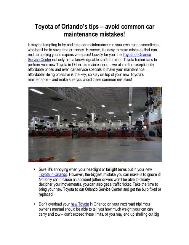 Superior Toyota Of Orlandou0027s Tips U2013 Avoid Common Car Maintenance Mistakes!