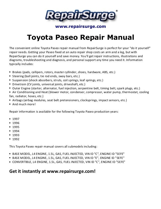 Toyota Paseo Repair Manual 1992 1997rhslideshare: 97 Toyota Paseo Engine Diagram At Gmaili.net