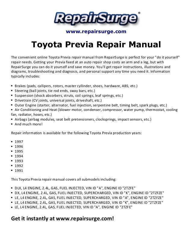 toyota previa repair manual 1991 1997 rh slideshare net Used 1996 Toyota Previa 1996 Toyota Previa Supercharger
