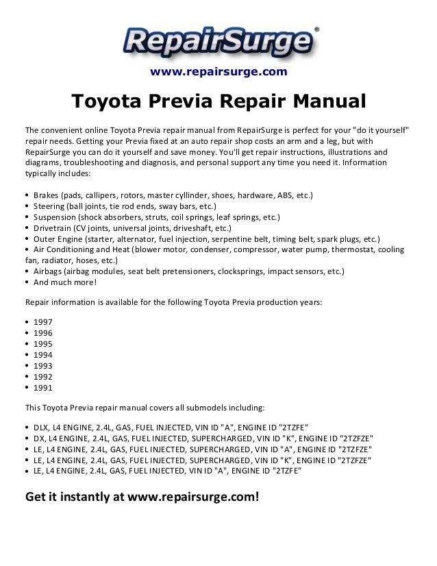 toyota previa repair manual 1991 1997 rh slideshare net