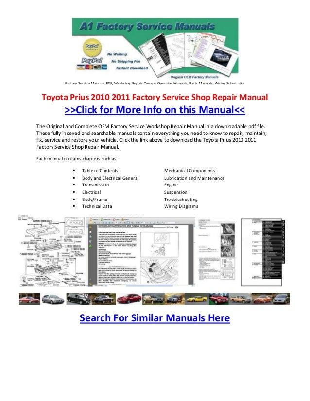 Toyota Prius 2010 2011 Factory Service Shop Repair Manual