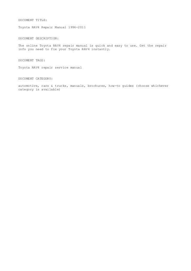 1996 rav4 workshop manual free download