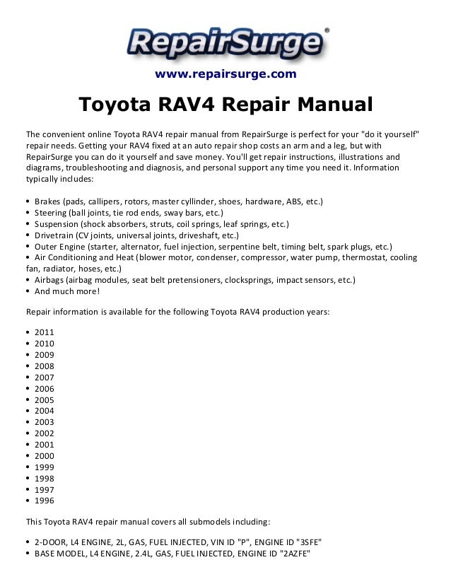 toyota rav4 repair manual 1996 2011 rh slideshare net 2007 rav4 service manual pdf 2007 rav4 repair manual free download
