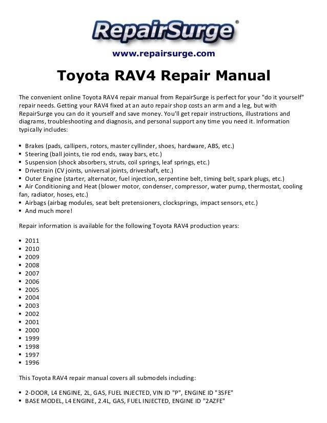 toyota rav4 repair manual 1996 2011 rh slideshare net 2008 Toyota RAV4 2007 rav4 repair manual pdf
