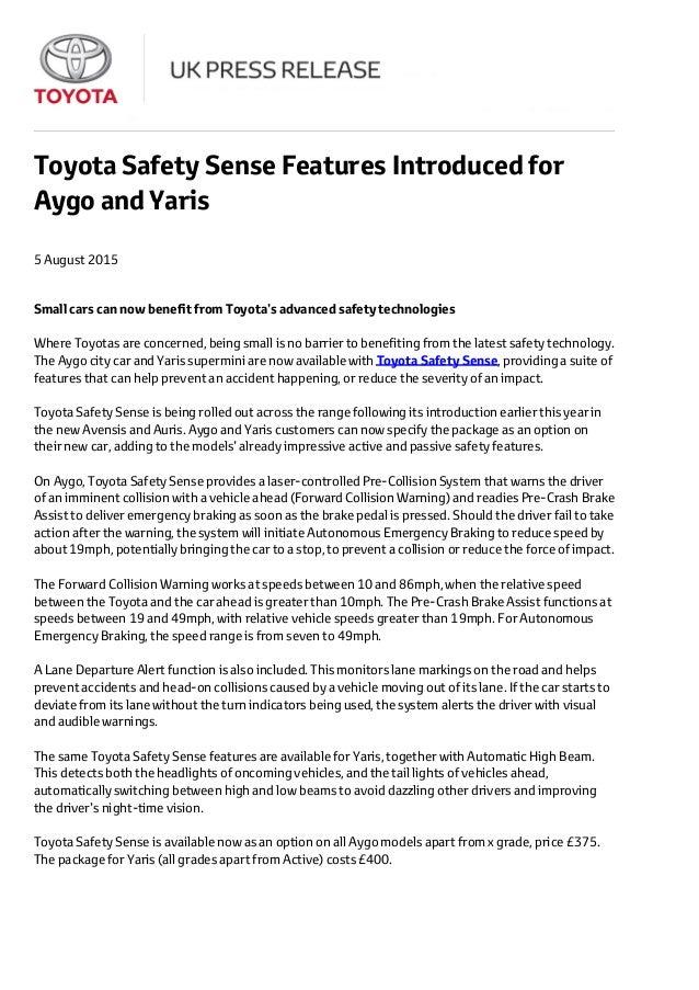 Toyota Safety Sense Press Release