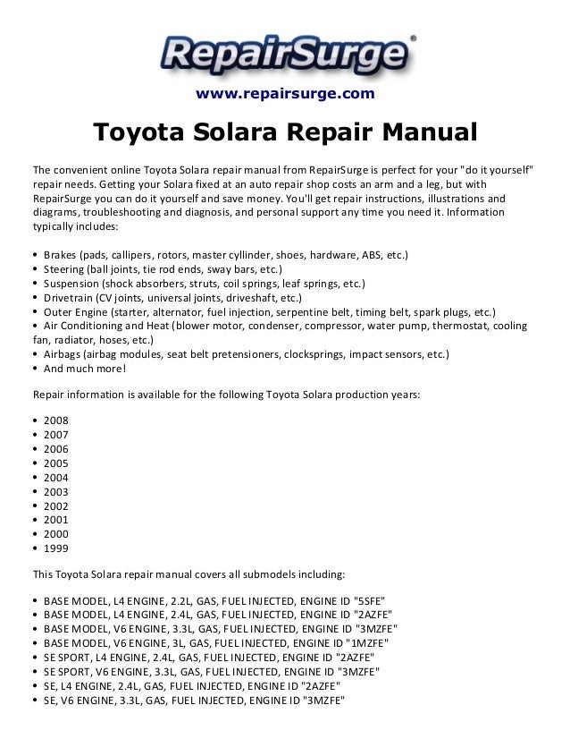 toyota solara repair manual 1999 2008 rh slideshare net 2002 Toyota Solara 2004 toyota solara owners manual