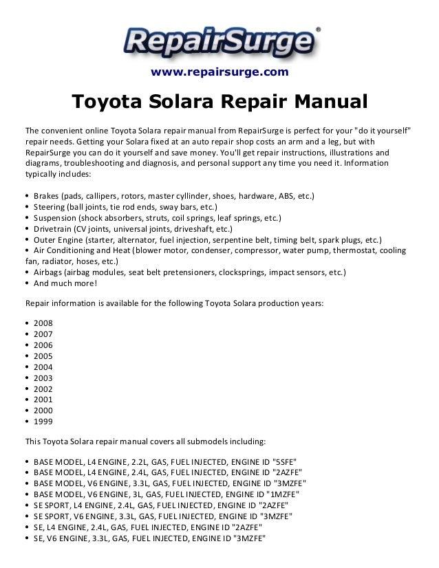 toyota solara repair manual 1999 2008 rh slideshare net toyota solara owners manual toyota solara repair manual