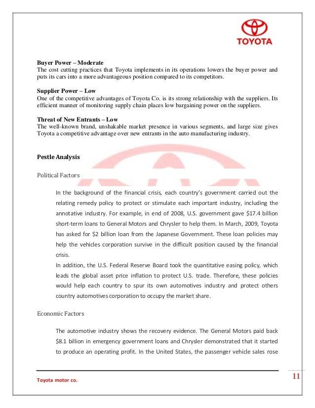 Toyota PESTEL/PESTLE Analysis & Recommendations