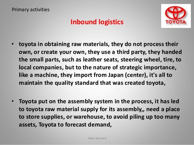 toyota logistics essay 2012-06-28 supply chain management introduction outline  logistics related activity 11%, 105%, 101% of gdp in 1990,  – toyota.