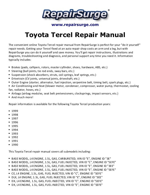 toyota tercel repair manual 1990 1999 rh slideshare net 1998 toyota tercel repair manual 1998 toyota tercel owners manual