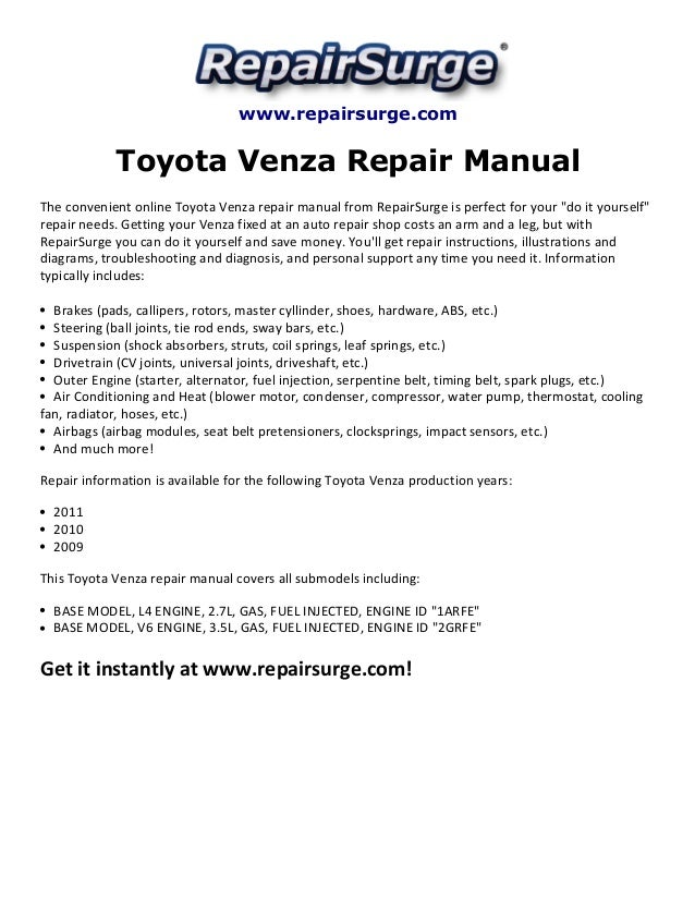 toyota venza repair manual 2009 2011 rh slideshare net 1990 Toyota 4Runner 1990 Toyota 4Runner
