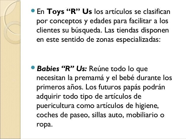 """En Toys """"R"""" Us los artículos se clasifican por conceptos y edades para facilitar a los clientes su búsqueda. Las tiendas ..."""