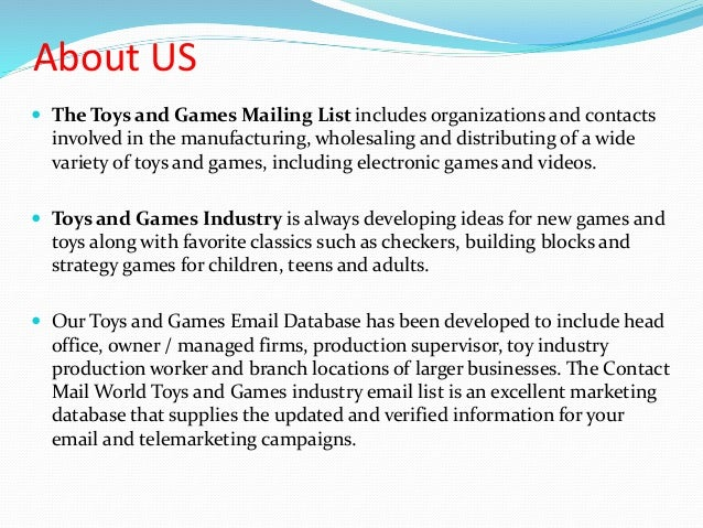 Toys and games mailing list