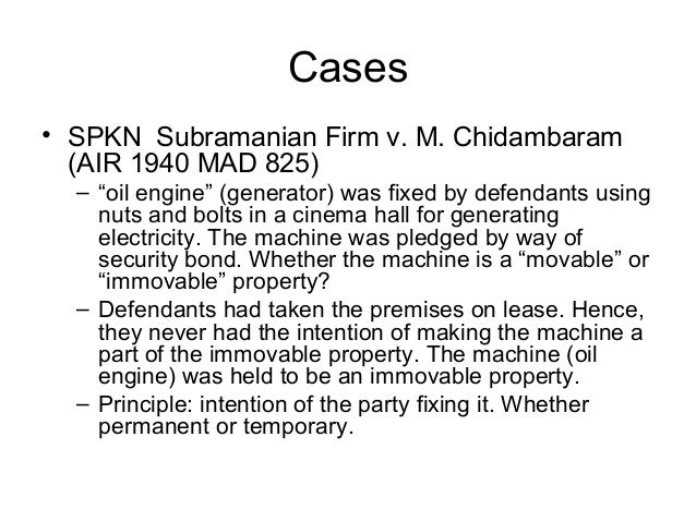 """Cases • SPKN Subramanian Firm v. M. Chidambaram (AIR 1940 MAD 825) – """"oil engine"""" (generator) was fixed by defendants usin..."""