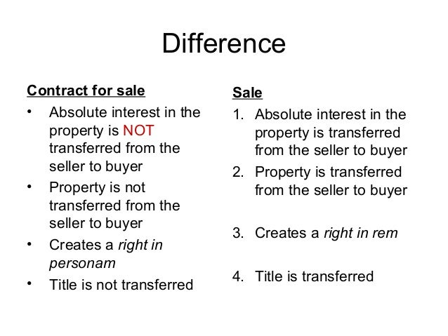 Sale Of Immovable Property Meaning