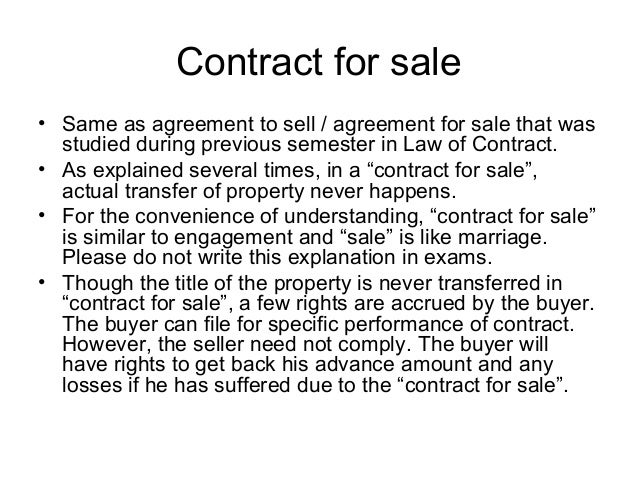 Topic 9. Sale Of Immovable Property