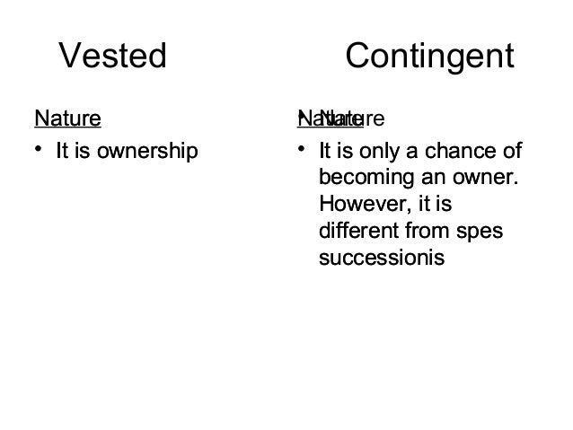 Difference between vested and contingent interest Slide 3